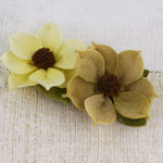 Prima - Sassy Collection - Fabric Flower Embellishments - Butternut