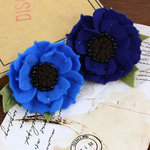 Prima - Encore Collection - Fabric Flower Embellishments - Blueberry