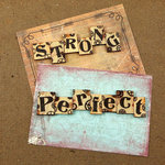 Prima - Craftsman Collection - Wood Embellishments - Scrabble Words - Strong, Perfect