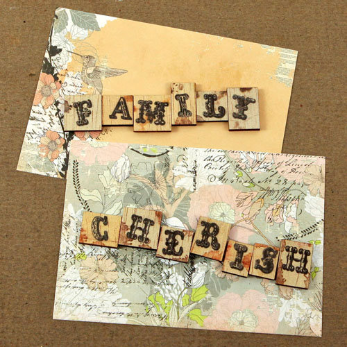 Prima - Rondelle Collection - Wood Embellishments - Scrabble Words - Family, Cherish