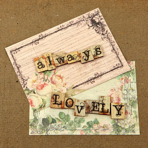 Prima - Tea-Thyme Collection - Wood Embellishments - Scrabble Words - Always, Lovely