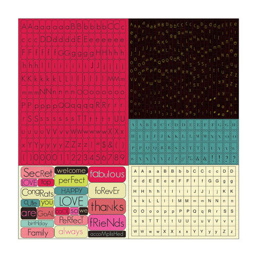 Prima - Rosarian Collection - Cardstock Stickers - Tiny Alphabets