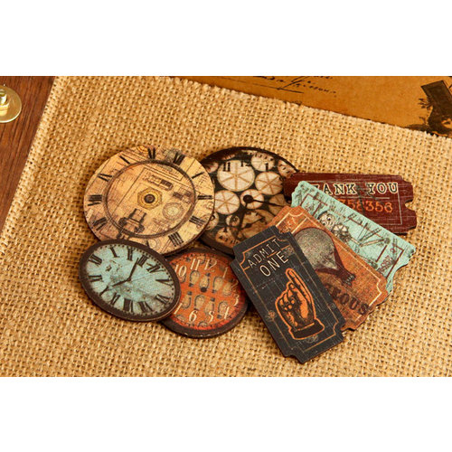 Prima - Craftsman Collection - Wood Embellishments - Clocks and Tickets