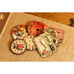 Prima - Romance Novel Collection - Wood Embellishments - Clocks and Tickets
