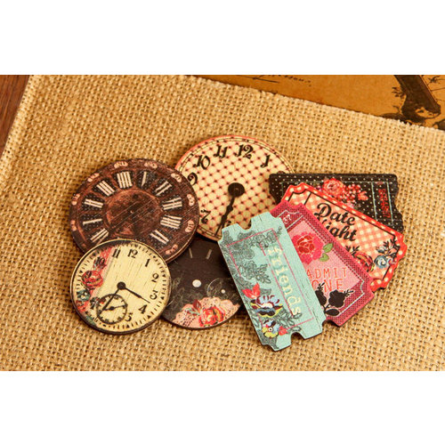 Prima - Rosarian Collection - Wood Embellishments - Clocks and Tickets