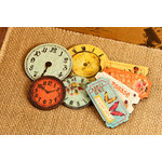 Prima - Zephyr Collection - Wood Embellishments - Clocks and Tickets