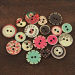 Prima - Rosarian Collection - Wood Embellishments - Buttons