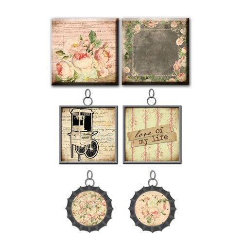Prima - Tea-Thyme Collection - Vintage Trinkets - Art Tiles and Metal Embellishments
