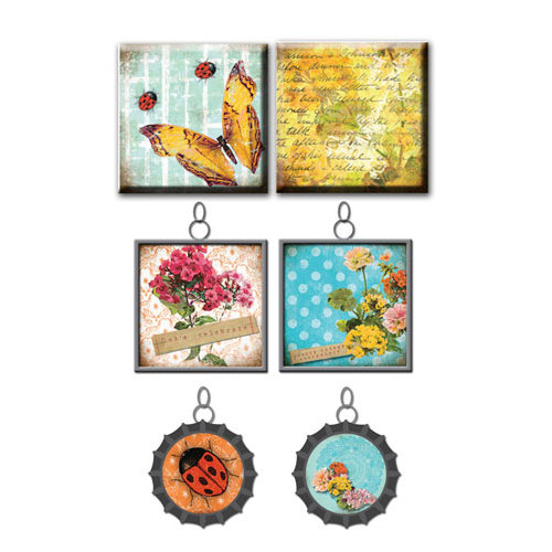 Prima - Zephyr Collection - Vintage Trinkets - Art Tiles and Metal Embellishments