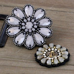 Prima - Taos Collection - Bead and Fabric Flower Embellishments - Tea-Thyme