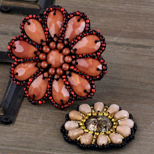 Prima - Taos Collection - Bead and Fabric Flower Embellishments - Craftsman