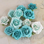 Prima - Interlude Collection - Flower Embellishments - Turquoise