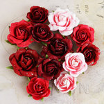 Prima - Interlude Collection - Flower Embellishments - Red