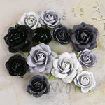 Prima - Interlude Collection - Flower Embellishments - Black and Gray