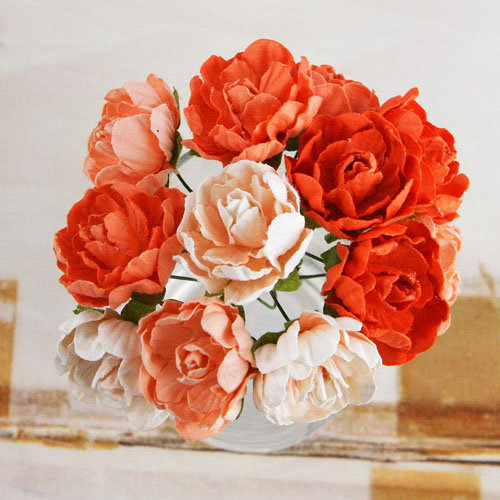 Prima - Serenade Collection - Flower Embellishments - Orange