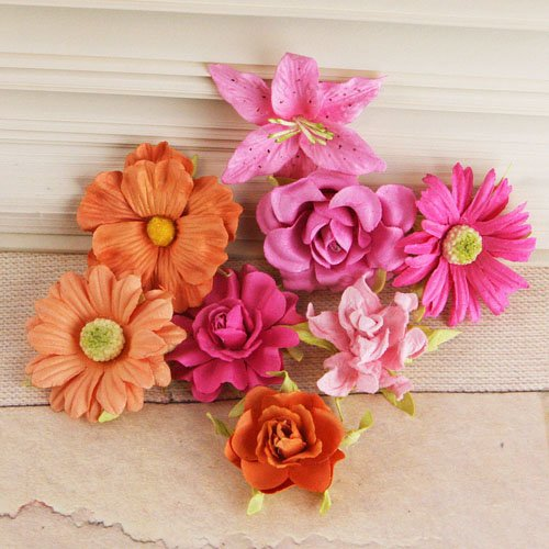 Prima - Soubrette Collection - Flower Embellishments - Pink and Orange