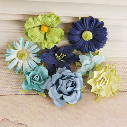 Prima - Soubrette Collection - Flower Embellishments - Blue and Green