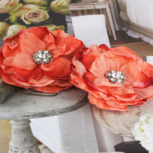 Prima - Bravo Collection - Fabric Flower Embellishments - Orange