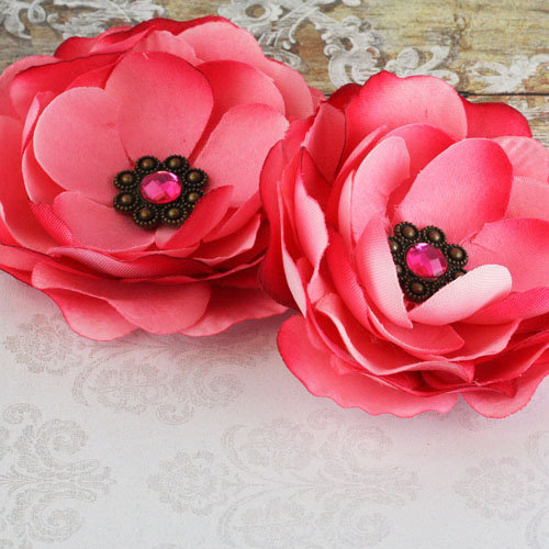 Prima - Aria Collection - Fabric Flower Embellishments - Pink