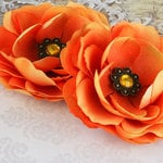 Prima - Aria Collection - Fabric Flower Embellishments - Orange