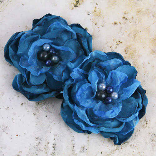 Prima - Banda Collection - Fabric Flower Embellishments - Blue