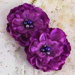 Prima - Banda Collection - Fabric Flower Embellishments - Purple