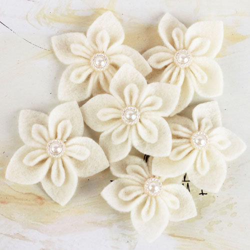 Prima - Lyrique Collection - Felt Flower Embellishments - Ivory