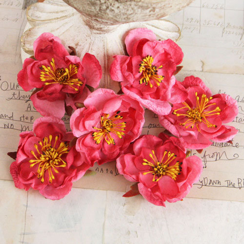 Prima - Bel Canto Collection - Fabric Flower Embellishments - Dark Pink