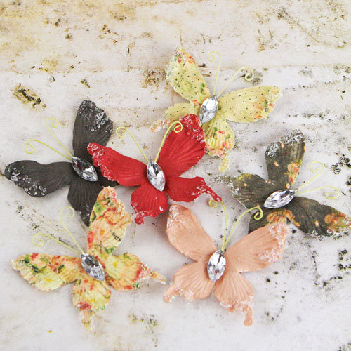 Prima - Papillons Collection - Butterfly Embellishments - Tea-Thyme