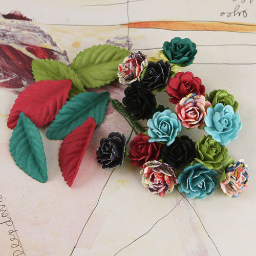 Prima - Perles Collection - Flower and Leaves Embellishments - Rosarian