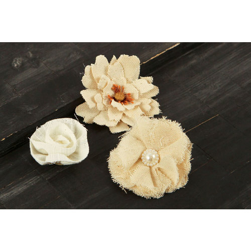 Prima - Au Naturale Collection - Fabric Flower Embellishments - Mix 9