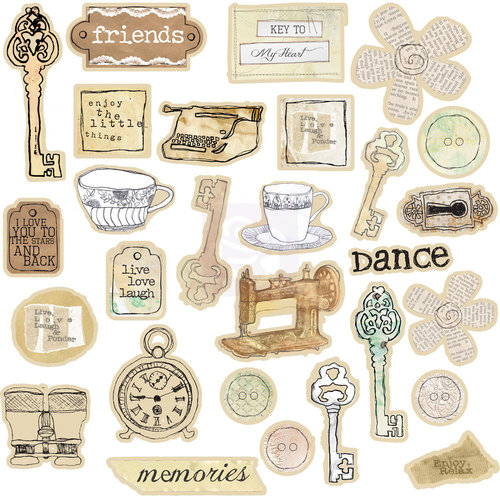 Prima - Lifetime Chipboard Collection - Self Adhesive Chipboard Pieces - Lifetime