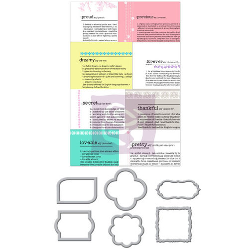 Prima - Hello Pastel Collection - Metal Embellishments - Newsprint Mini Frames