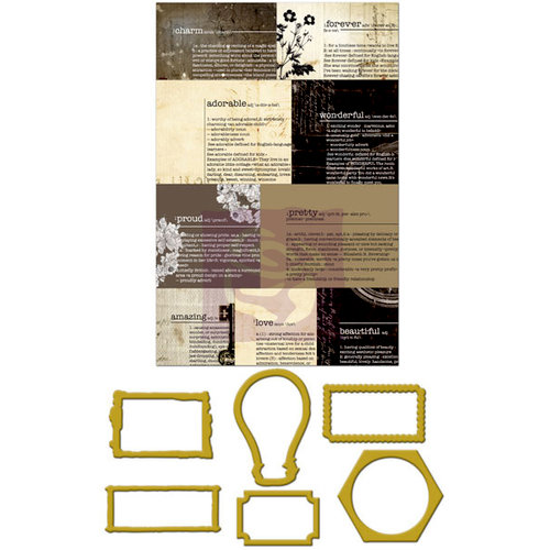 Prima - Engraver Collection - Metal Embellishments - Newsprint Mini Frames