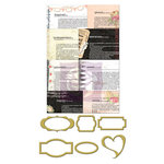 Prima - Lyric Collection - Metal Embellishments - Newsprint Mini Frames