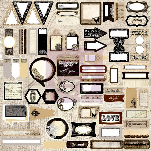 Prima - Engraver Collection - 12 x 12 Cardstock Stickers - Journaling Spot