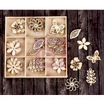 Prima - Wood Icons in a Box - Leaves and Flowers
