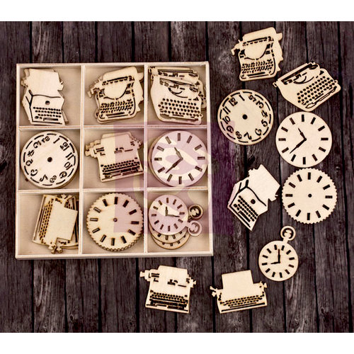 Prima - Wood Icons in a Box - Typewriters and Clocks