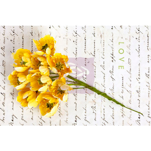 Prima - Divine Collection - Flower Embellishments - Yellow