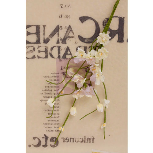 Prima - Lady Bird Collection - Flower Embellishments - Solid Flower Vine - White