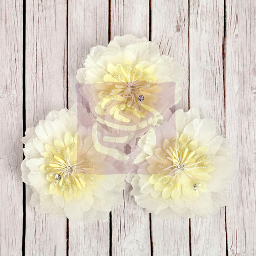 Prima - Fairy Rhymes Collection - Fabric Flower Embellishments - Natural
