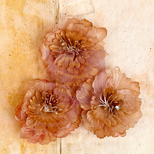 Prima - Engraver Collection - Fabric Flower Embellishments - Light Brown