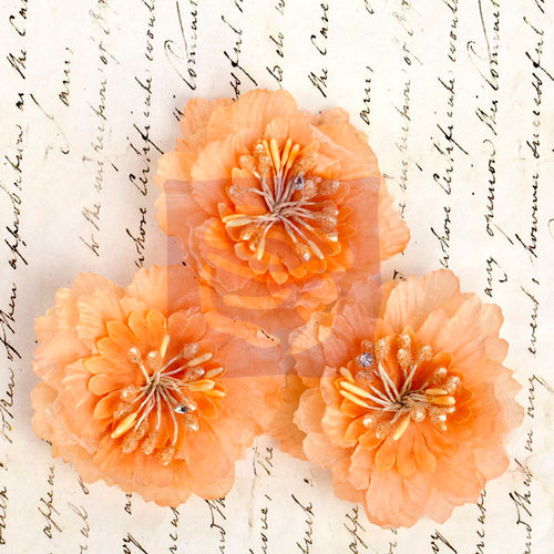 Prima - Divine Collection - Fabric Flower Embellishments - Peach