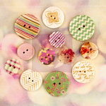 Prima - Hello Pastel - Wood Embellishments - Buttons