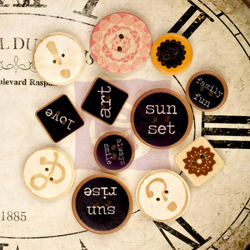 Prima - Sunrise Sunset - Wood Embellishments - Buttons