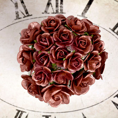 Prima - Sunrise Sunset Collection - Paper Mini Roses - Copper