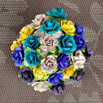 Prima - Mini Sachet Collection - Flower Embellishments - Bluejay