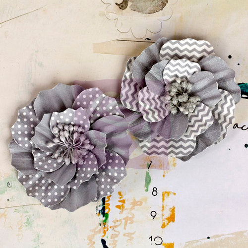 Prima - Ascot Park Collection - Flower Embellishments - Pewter