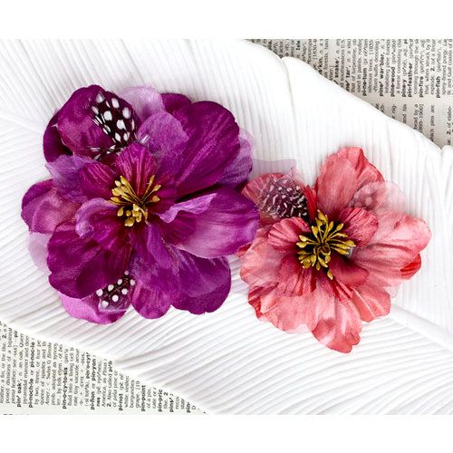 Prima - Firebird Collection - Flower Embellishments - Plum