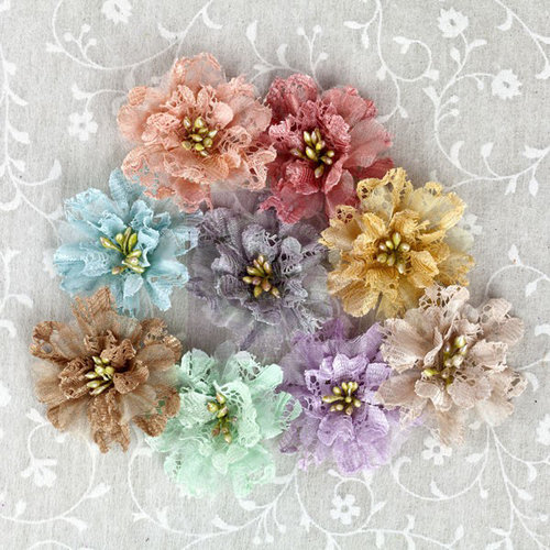 Prima - Merci Collection - Fabric Flower Embellishments - Pastel Mix